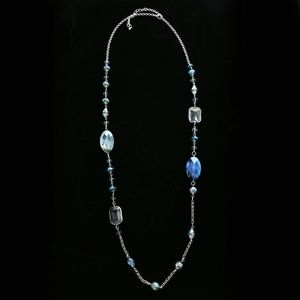 Luxury Faceted Necklace Silver/Blue NWOT